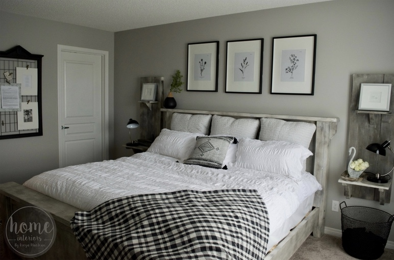 Black White Farmhouse Master Bedroom Interior Decorating Real Estate Staging Services