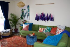 Colourful Boho Living Room - Tassel Wall Hanging - Swag Light
