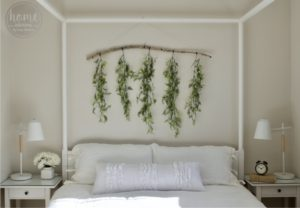 DIY Hanging Greenery - Airy Mastery Bedroom - White + Green