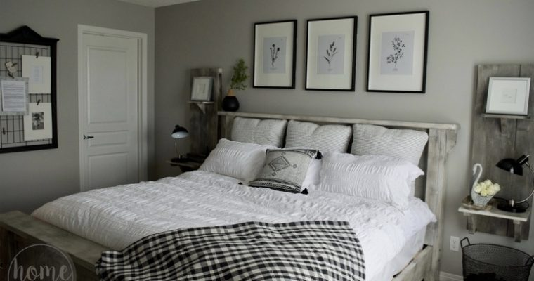 Black + White Farmhouse Master Bedroom