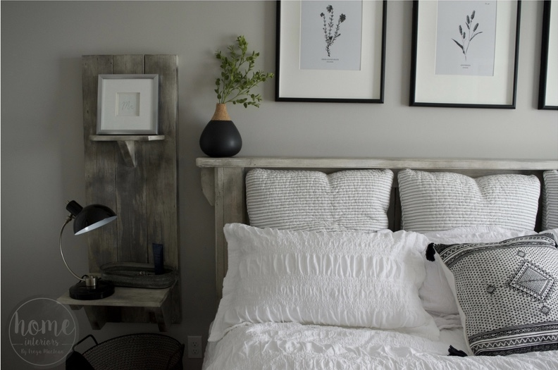 Black + White Farmhouse Master Bedroom - Floral Art - Rustic