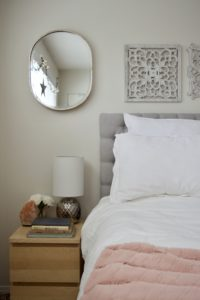 Master Bedroom White Blush Pink Grey Nature Bright Serene Birch Bed Bedding