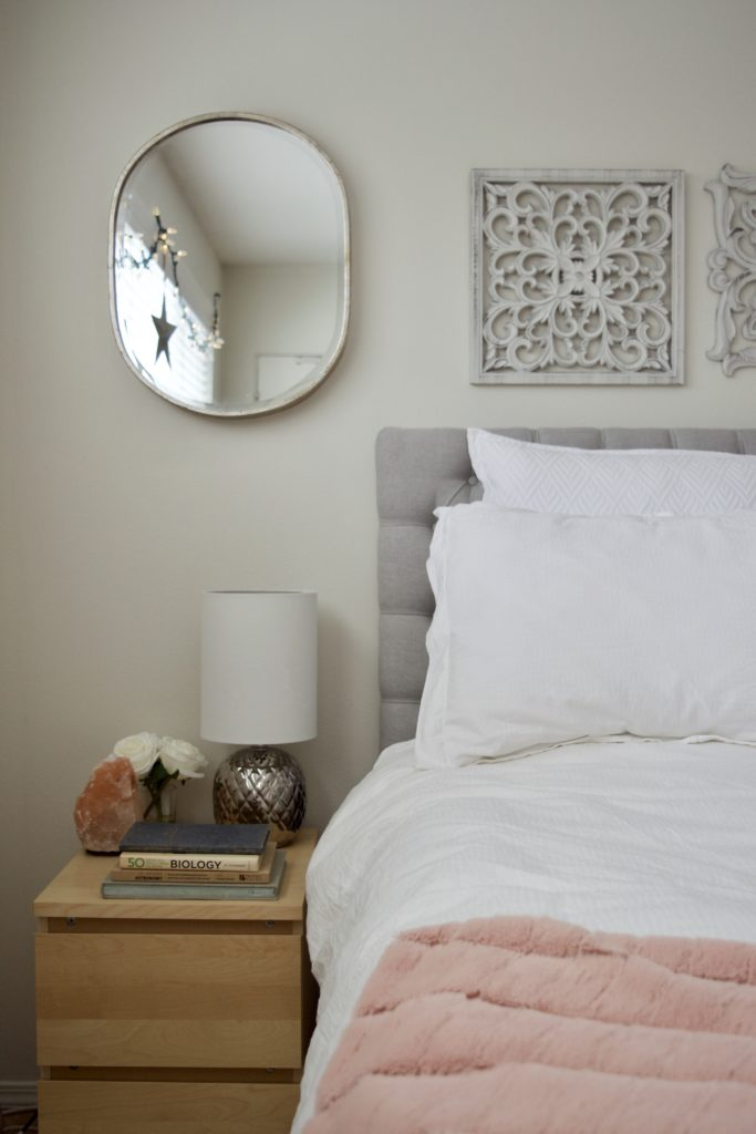 Master Bedroom, Calm, Classic Gray, White Bedding, Blush Pink, Mirror, Serene, Peaceful, Makeover