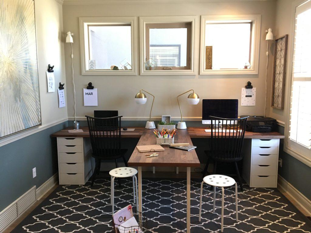 Family Office - Ikea Hack - T Shaped Desk