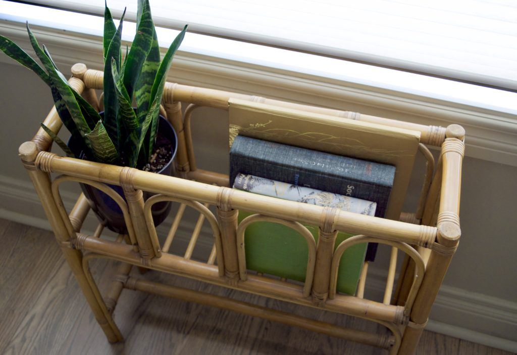Repurposed Vintage Plant Stand, Wicker, Book Holder