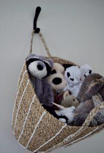 kids stuffed animal storage basket wall vertical organization toy