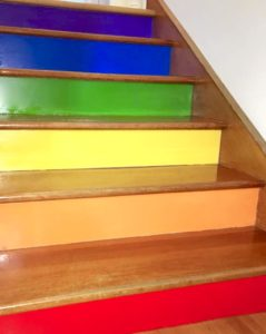 painted rainbow colourful stair risers diy