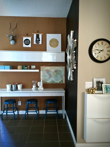 cork wall modern office ikea desk brown white Alex before and after sunburst mirror bulletin board