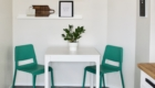 "small dining nook breakfast nook kitchen awkward corner green chairs teal whiteherringbone tile grey gray 12x24"" inches 1x2' feet photo ledges black pendant light eat in kitchen"
