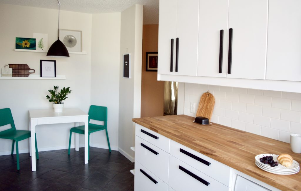 dining nook small kitchen modern farmhouse ikea white black butcher block green chairs table calgary designer