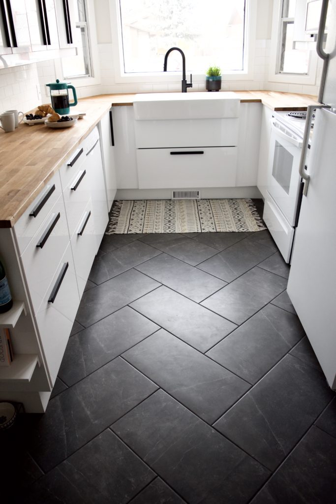 "grey herringbone floor tile gray charcoal ceramic 12x24"" inch 1x2' foot layout modern farmhouse kitchen"